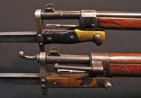 , примкнутые к винтовкам Mannlicher Schoenauer М1903 (вверху) и М1903 14 (внизу) 01