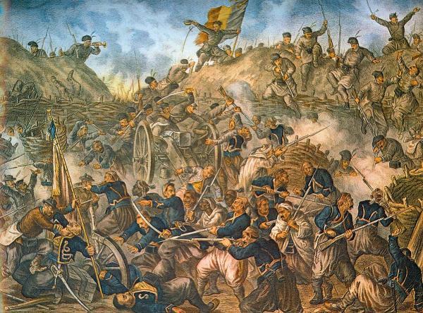 войска штурмуют редуты Гривицы во время войны за независимость Румынии (1877—1878)