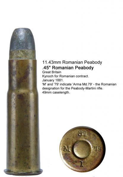 11,43 мм (.45) патрон к румынскй винтовке Пибоди Мартини Генри обр. 1897 года 02