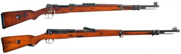 винтовка Mauser 98 и укороченная винтовка Mauser 98k в сравнении 01