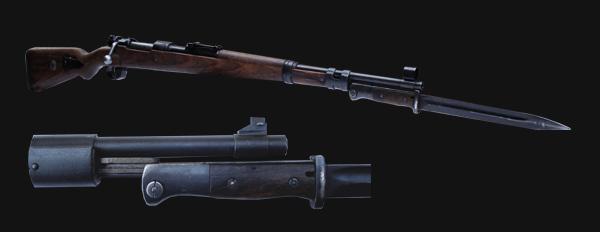 02 Укороченная винтовка (карабин) Mauser 98k с примкнутым штыком S 84 98 (01)