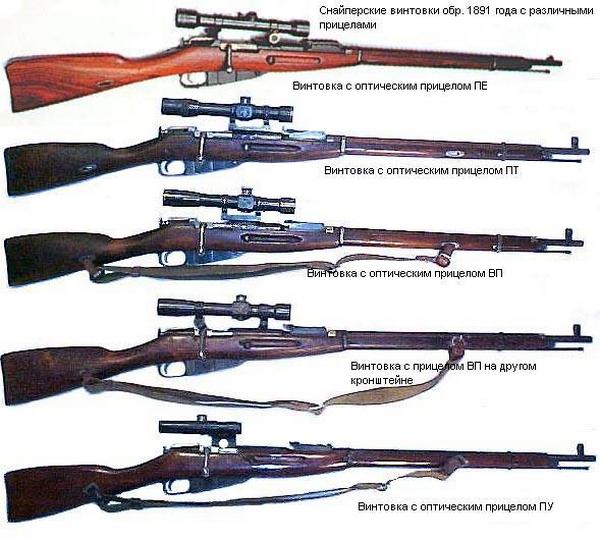 винтовки обр. 1891 1930 года с различными оптическими прицелами 01