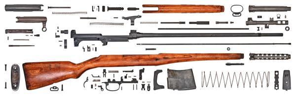 винтовка Токарева  СВТ 40 в разобранном виде (01)