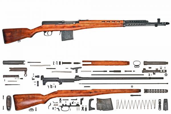 винтовка Токарева  СВТ 40 в собранном и разобранном виде (01)