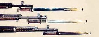 3 Клинковый штык на винтовке СВТ 38, 4 Клинковый штык на винтовке АВС 36, 5 Клинковый штык на винтовке СВТ 40