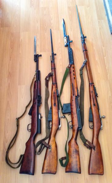 винтовки и карабины со штыками 01