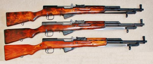карабины Симонова различных годов производства ТОЗ. СКС 45 (1949 год), СКС 45 (1950 год), СКС 45 (1953 год)