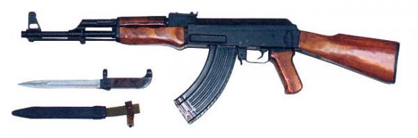 7,62 мм облегчённый автомат Калашникова АК (инд. 56 А 212). Вид слева. Штык 6Х2