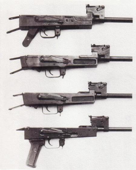 конструкции ствольной коробки (сверху вниз) АК 47 тип 1, АК 47 тип 2, АК 47 тип 3, АКМ