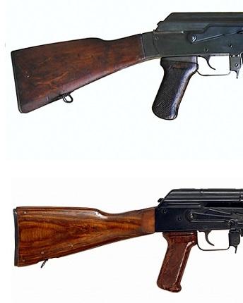 АК 47 (вверху) и АКМ (внизу) в сравнении