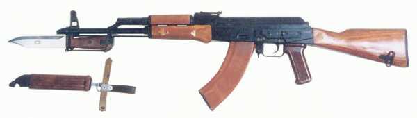 7,62 мм модернизированный автомат АКМН (инд. 6П1Н) с компенсатором, магазином из пластмассы АГ 4, штыком ножом (инд. 6Х4)
