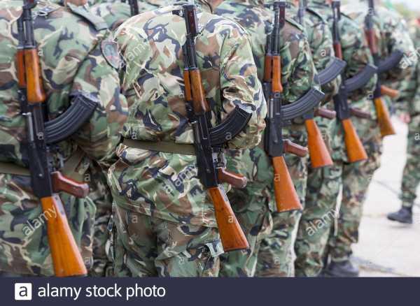 bulgarian soldiers in uniforms with kalashnikov ak 47 rifles 2C13PB9