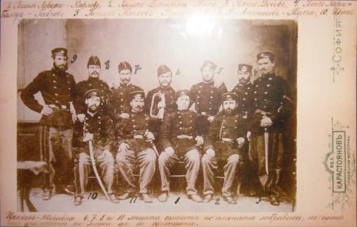 Участники Второй Болгарской легии (1867—1868 гг.). В. Левский третий слева в первом ряду 01