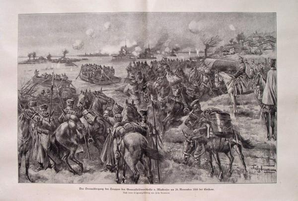 Макензен наблюдава форсирането на Дунава при Свищов,  на 24 ноември 1916 г.