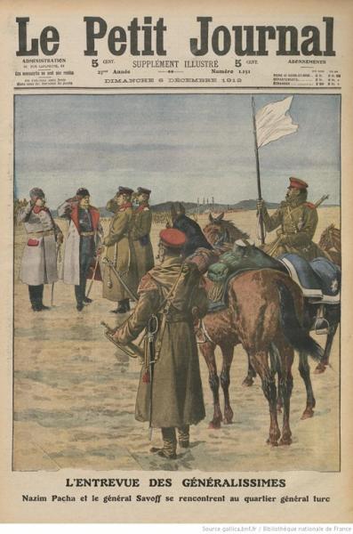 между генерали. Насим Паша и генерал Савов на среща в турското главно командване