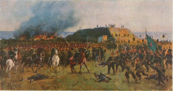 .Д. Кившенко (1851 1895)   Взятие Горного Дубняка (Горни Дыбник) в Болгарии. 1877