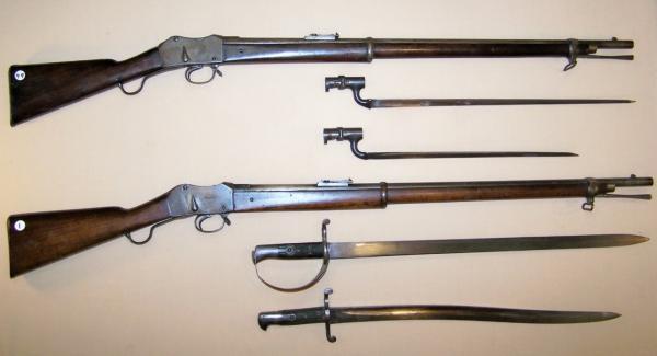Martini Henry rifles and bayonets