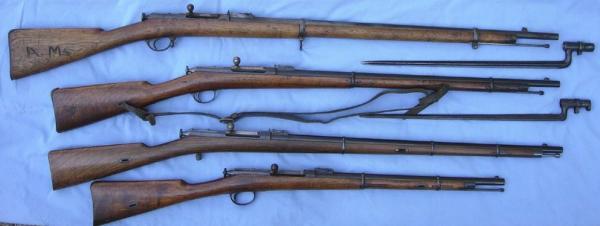 винтовки Бердана № 2 (сверху вниз) пехотная, драгунская, казачья и карабин