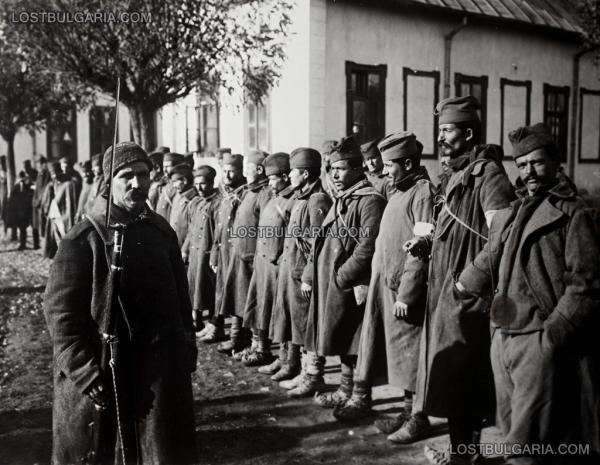 солдат и сербские пленные. ПМВ, 1917 год