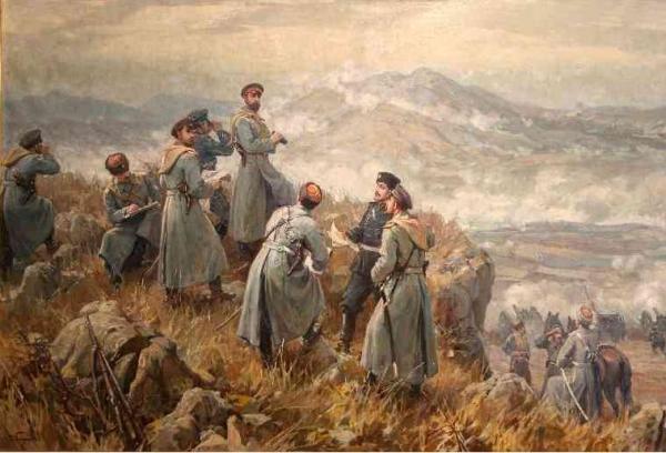 Alexander I of Bulgaria with his chiefs of staff observing the Battle of Dragoman, November 23, 1885. Serbian Bulgarian War, Bulgar