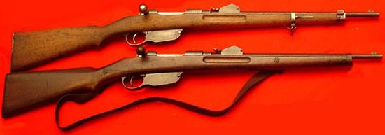 (вверху) и кавалерийский (внизу) карабины Манлихера обр. 1890 года (01)