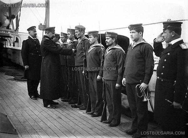 на борда на крайцера Надежда от командващия флота кап. I ранг Станчо Димитриев (1908   1911), около 1910 г.