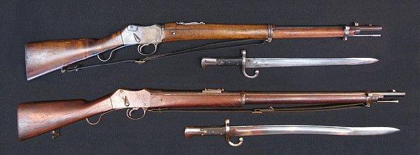 винтовки и штыки к ним 03. Пибоди М1874 (внизу) и Мартини Маузер (Пибоди Маузер) М1874 1912 (вверху) 01