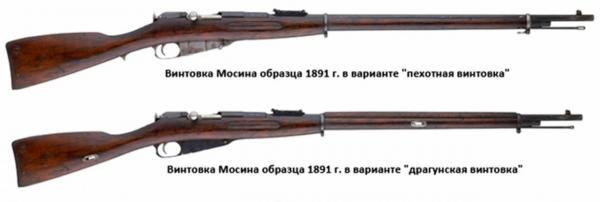 (вверху) и драгунская (внизу) винтовки Мосина обр. 1891 года 01