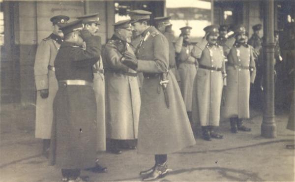 Boris III of Bulgaria and Bulgarian General's Nikola Zhekov, Hristo Lukov and Georgi Todorov (1918 год)
