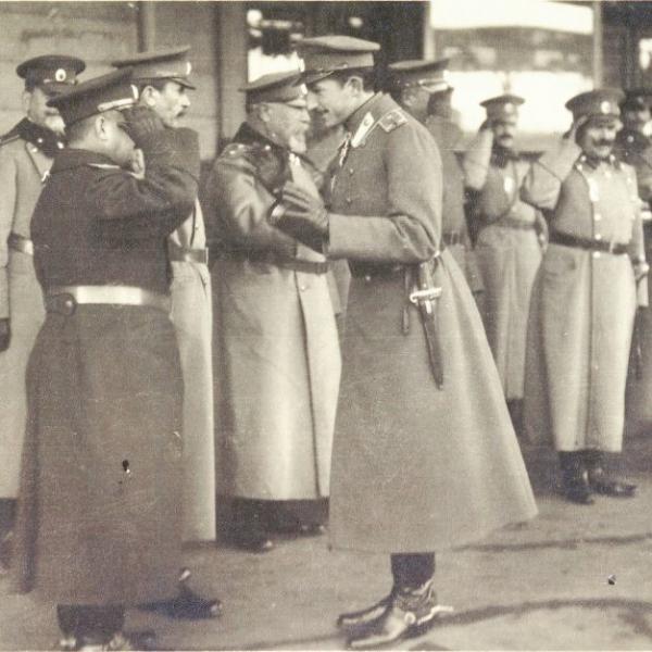 Crown Prince Boris and Bulgarian Generals Nikola Zhekov, Hristo Lukov and Georgi Todorov, 1918