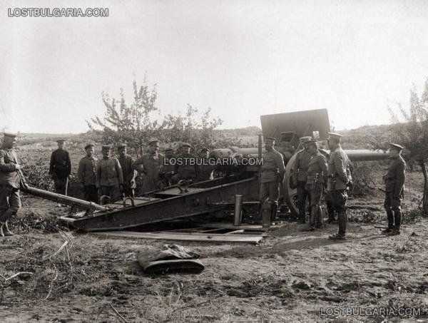 и германци с германско дългобойно оръдие Д 40 (=15cm S.K.L 40 i.R.L.) на Южния фронт