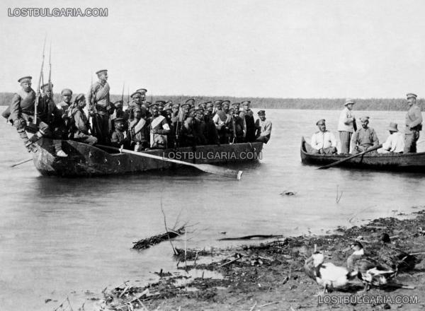 с лодки от позициите на 12 та пехотна дивизия, делтата на река Дунав, 1917 г.