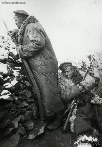 на Буджоите, 1917 год. ПМВ, Южния фронт. Болгарские солдаты вооружены винтовками Манлихера