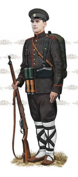 солдат (рядовой 14 го пех. полка) с винтовкой Манлихера М1895. ПМВ 03