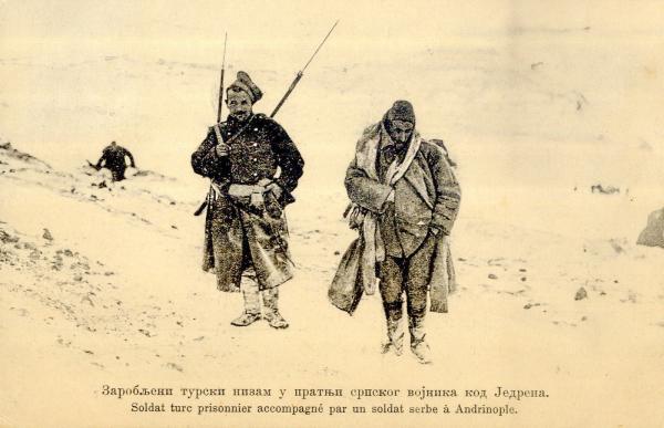 Captured Turkish Soldier (Nizam) accompanied by Serbian soldier at Edirne during the First Balkan War