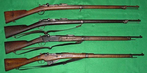 винтовки (сверху вниз). Chassepot Mle 1866, Gras Mle 1874 M80, Lebel Mle 1886 M93, Berthier Mle 1907 M15