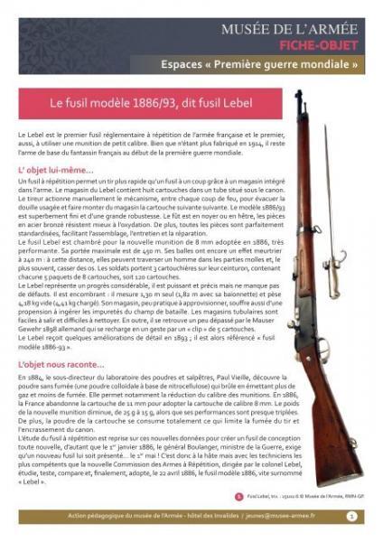 le fusil modele 1886 93 dit fusil lebel musee de larmee