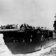 """Вид с кормы на американский авианосец """"Энтерпрайз"""" в плавании в Тихом океане"""