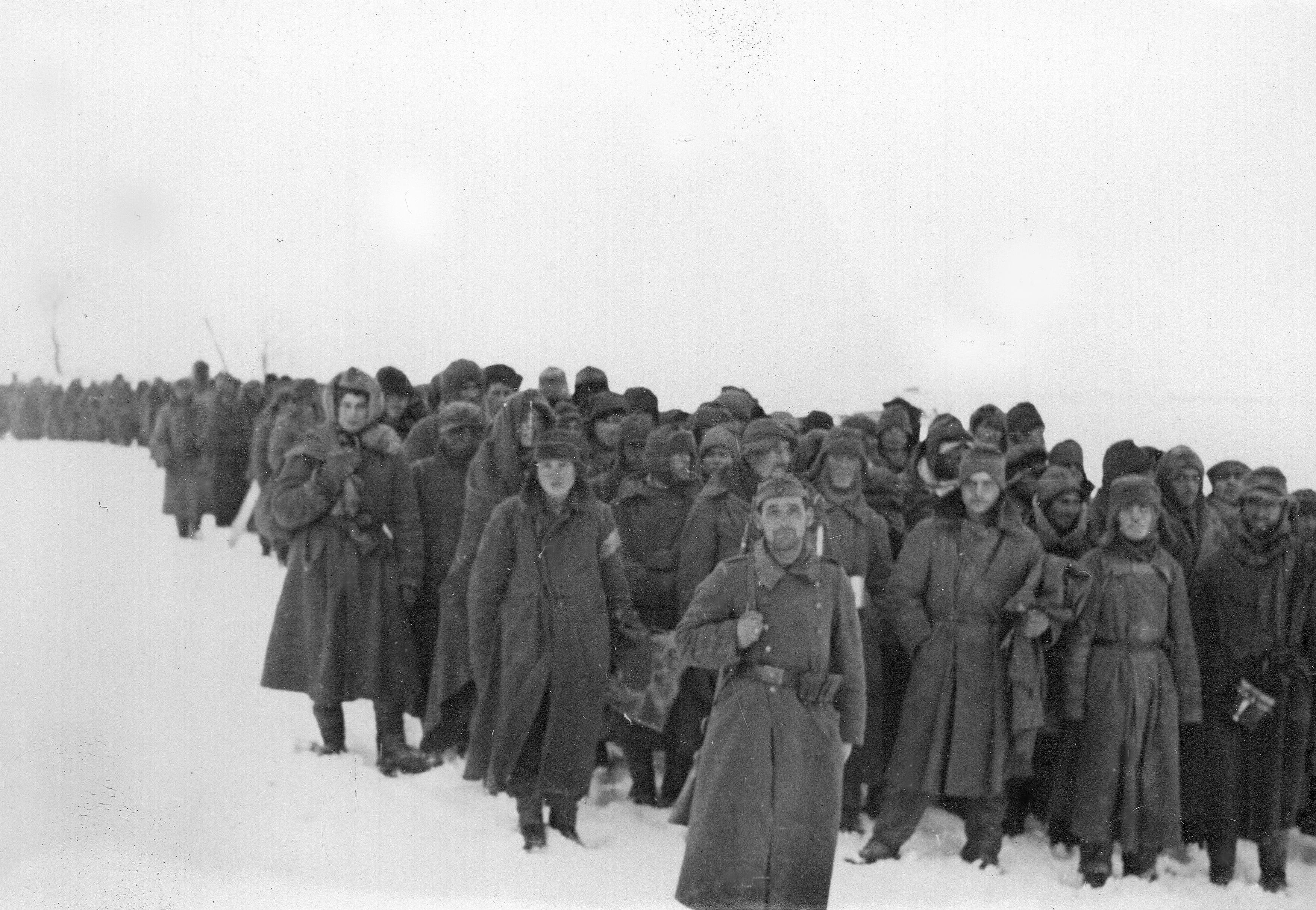 Колонна советских военнопленных в степи под Сталинградом